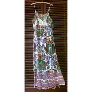 M L XL CROCHET Maxi Dress BOHO Vintage SLITS